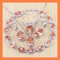 Exquisito orange morganite gota pulseras sistemas de la joyería para las mujeres angelic 925 plata de ley pendientes/anillo/collar/colgante