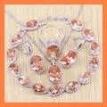 Requintado orange angelical morganite gota pulseiras conjuntos de jóias para as mulheres 925 brincos de prata esterlina/anel/colar/pingente