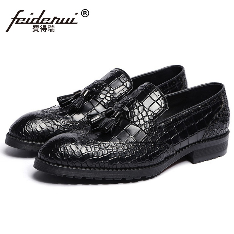 Vintage Wing Tip Brogue Man Formal Dress Shoes Male Genuine Leather Loafers Round Toe Men's Tassels Platform Flats JD75 ruimosi high quality wing tip man dress