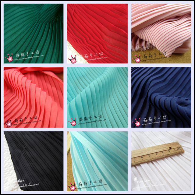 1psc  multi-color Pleated Chiffon fabric pleated fabric solid color for organ dress skirt crushed (pleated 0.5m)