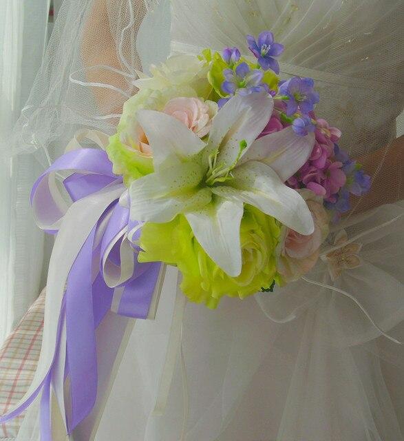 2017 Bridesmaid Wedding Bouquet New Cheap White Wedding Flowers Bridal Bouquets Artificial Rse Lily bouquet de fleurs nuptial