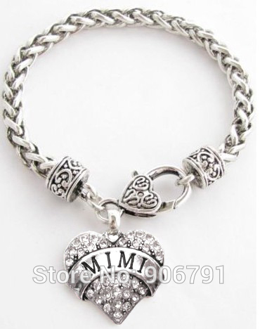 50pcs a lot antique silver MIMI with Crystal Heart Bracelet Jewelry