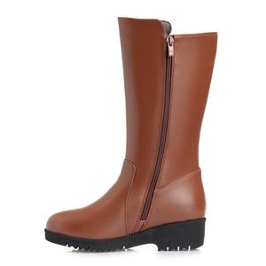 Image 4 - GKTINOO Winter Boots Wool Fur Inside Warm Shoes Women Wedges Heels Soft Leather Shoes Platform Snow Boots Footwear Botas