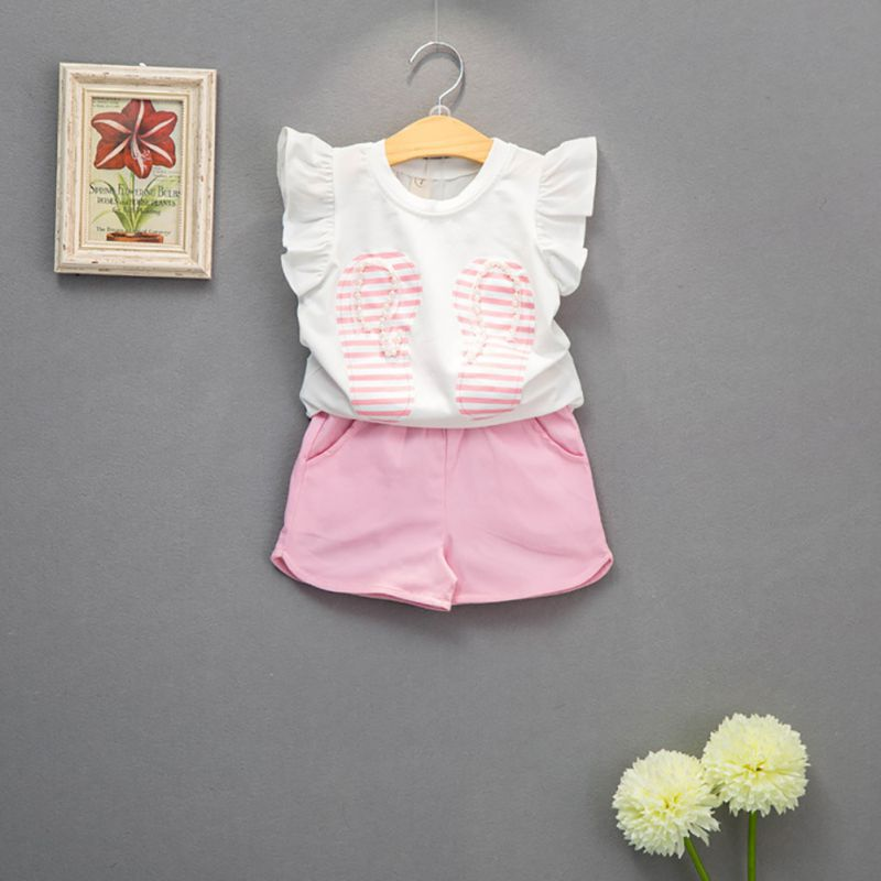 Summer Girls Clothes Set Kids Sleeveless T-shirt Pants Cotton  Comfortable Infant Girls Cotton Clothse Set girls in pants third summer