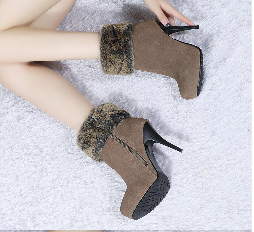 Hot Black Grey Nubuck Leather Ankle Boots Woman Sweet Stiletto Heels Round Toe Mid-Calf Boots Winter Snow Boots hot selling chic stylish black grey suede leather patchwork boots mid calf spike heels middle fringe boots side tassel boots