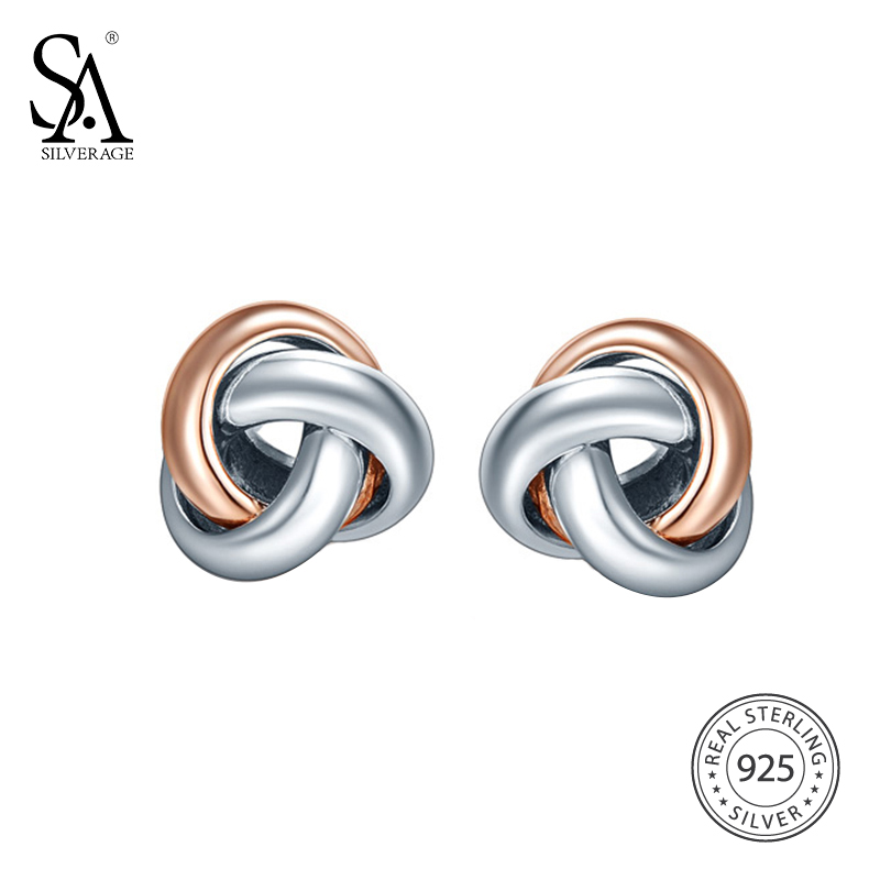 Sa silverage 925 sterling silver trendy stud earrings wanita perhiasan rose gold warna perak earings broncos pendientes