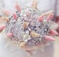 Серебряный и Коралловых Сушеные цветы брошь букет свадебные букеты кристалл Жемчужина конопли веревки листьев Невеста 'ы Букет Невесты