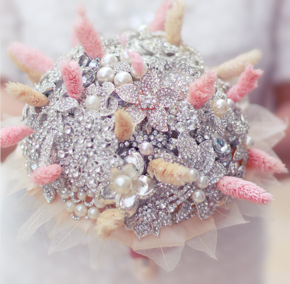 Silver & Coral Dried flowers brooch bouquet wedding bridal bouquets ...