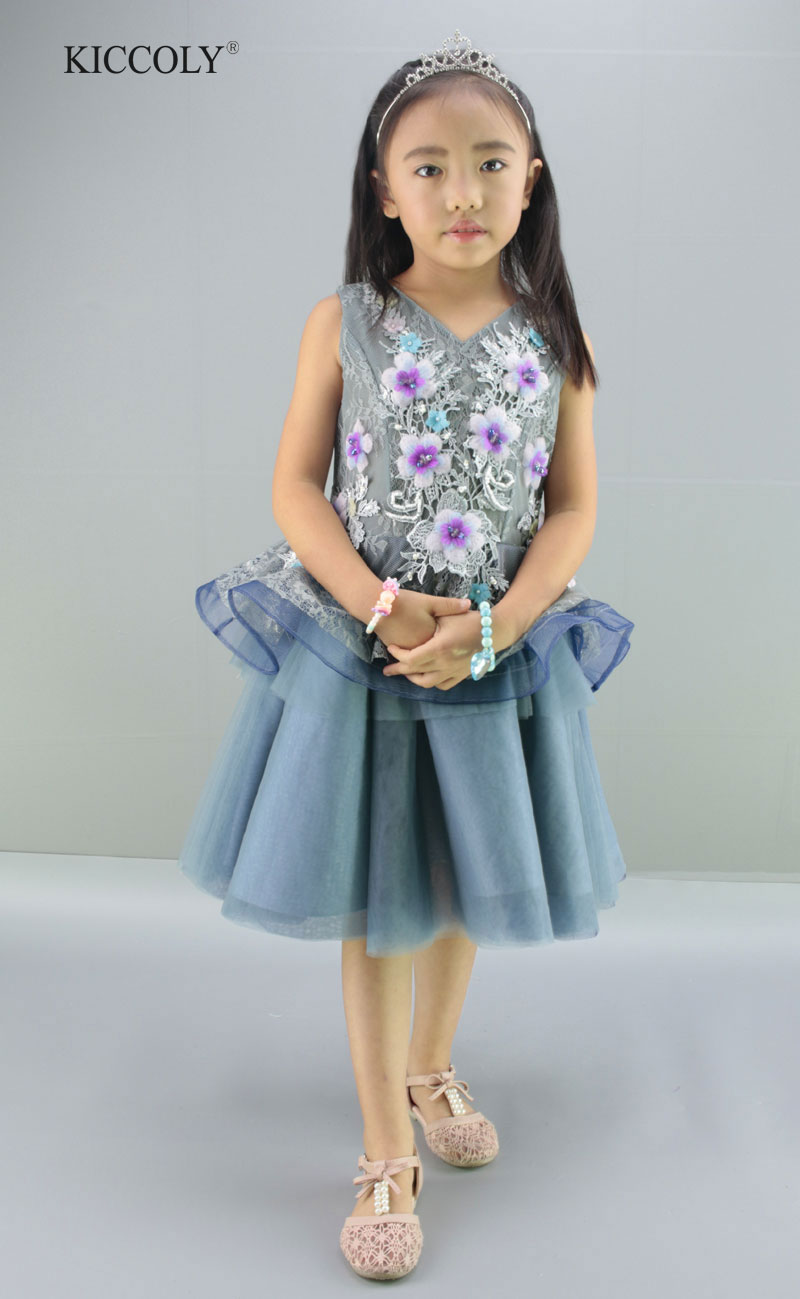 2017 Summer Elegant V-neck Vest Lace Dress Purple Blue Flower Princess Dress Kids Girl Ball Gown Dress First Communion Dresses plain elegant v neck bodycon dress