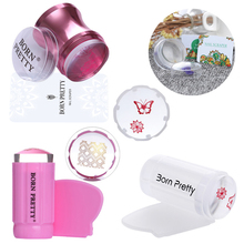 BORN PRETTY Clear Jelly Silicone Marshmallow Stamper with Scraper Stamping Manicure Nail Art Tool Set