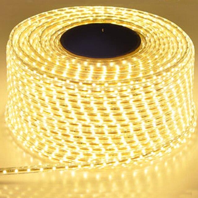 220V su geçirmez Led şerit ışık ile ab tak 2835 SMD esnek halat işık, 120 Leds/M yüksek parlaklık açık kapalı Dimmer dekor