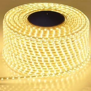 Image 1 - Tira de luz Led impermeable de 220V con enchufe de la UE 2835 SMD Luz de cuerda flexible, 120 Leds/M de alto brillo al aire libre interior Dimmer decor