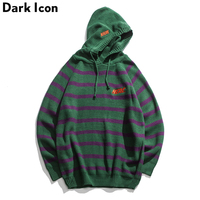 DARK ICON Embroidery Stripe Pullover Sweater Men with Hoodie 2018 Winter Oversized Men's Sweater High Street Sweater 4 Colors
