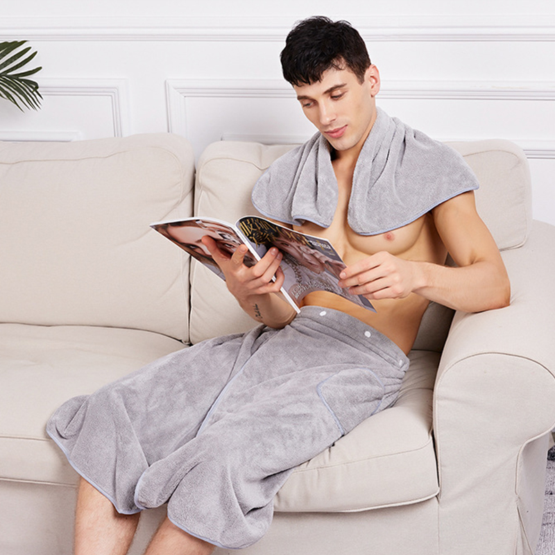 Microfiber Sexy Pajamas Sleep Bottoms Men Nightwear Bathrobe Culottes With Towel Soft Robe Homewear Side Split Short Pants