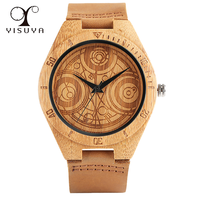 Dr. Who Quartz Bamboo Handmade Wrist Watch Cool Casual Gift Genuine Leather Band Strap Sport Clock Trendy Steampunk Style цена и фото