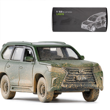 JK 1/32 Scale Sound&Light Car Model Toys Lexus LX570 SUV Diecast Metal Pull Back Car Model Toy For Gift,Kids,Collection стоимость