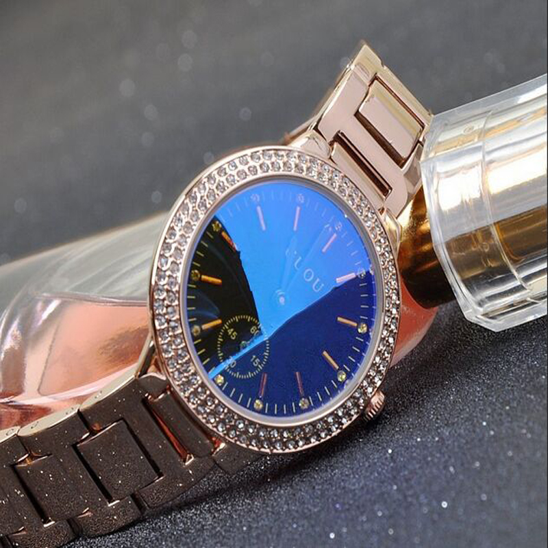 ФОТО GUOU Brand Waterproof Women's Watches time clock Quartz Luxury Watches Stainless Gold  Bracelet Glass Gift hour Wrist watches