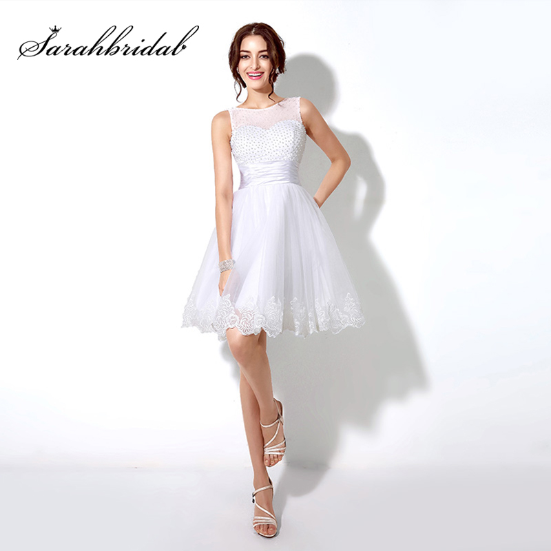 Cheap Under 60 Little White Prom Dresses 2017 with Pearls Bodice Tulle Knee Length Lace Appliques