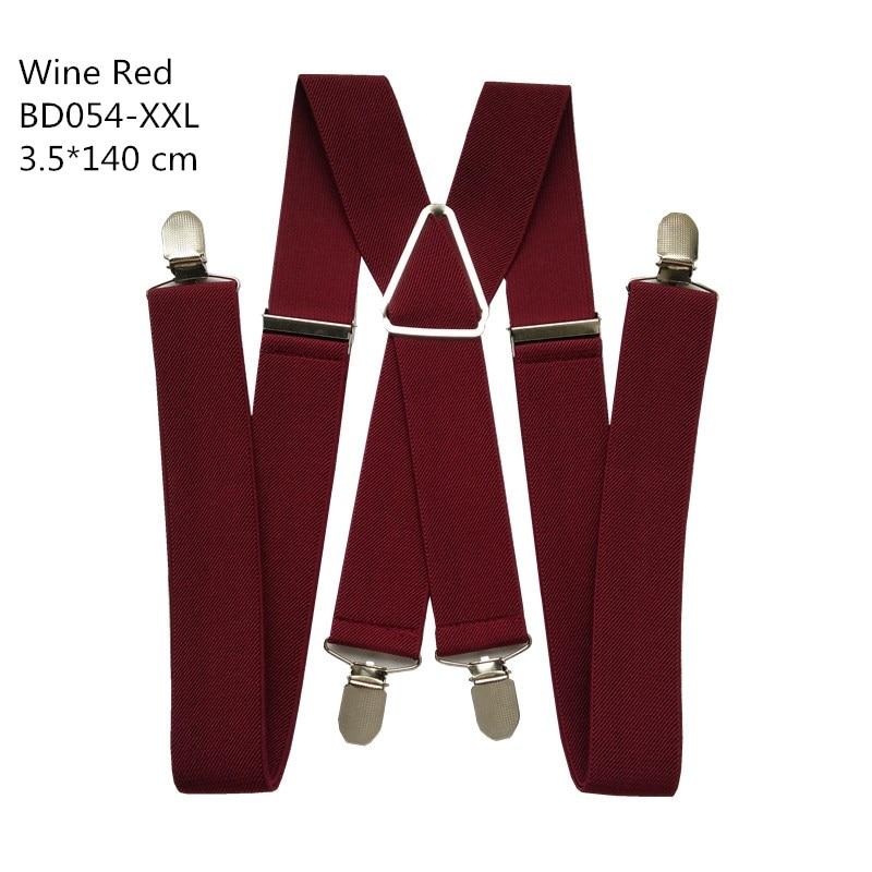 Одноцветные подтяжки унисекс для взрослых, мужские XXL, большие размеры, 3,5 см, ширина, регулируемые эластичные, 4 зажима X сзади, женские брюки, подтяжки, BD054 - Цвет: Wine red-140cm