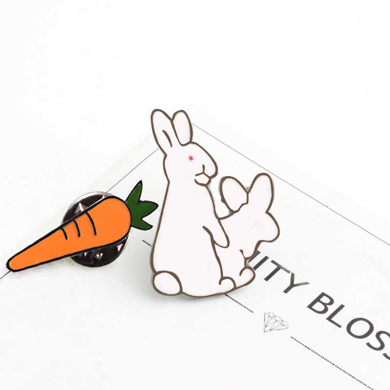 Sáng tạo Trắng Thỏ Trâm Cài Ác Động Vật Bunny Cà Rốt Men Kim Loại Pins Đối Với Phụ Nữ Áo Túi Áo Sơ Mi Áo Khoác Cổ Áo Ve Áo Huy Hiệu