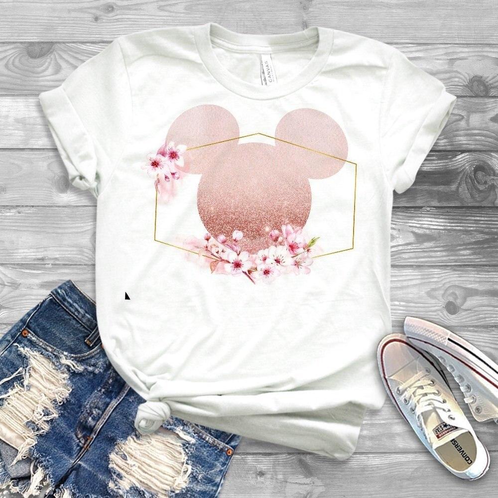 Women Minnie T Shirt Floral Micky Ear Shirt Girl Workout Tops Matching T shirt Family Tees