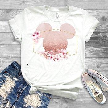 Women Minnie T-Shirt Floral Micky Ear Shirt Girl Workout Tops Matching T shirt Family Tees