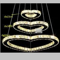 Kristal led avize/50*38*23 cm/moda led romantik avize/oturma odası/otel minimalist lamba kalpler tasarım 3 yüzükler