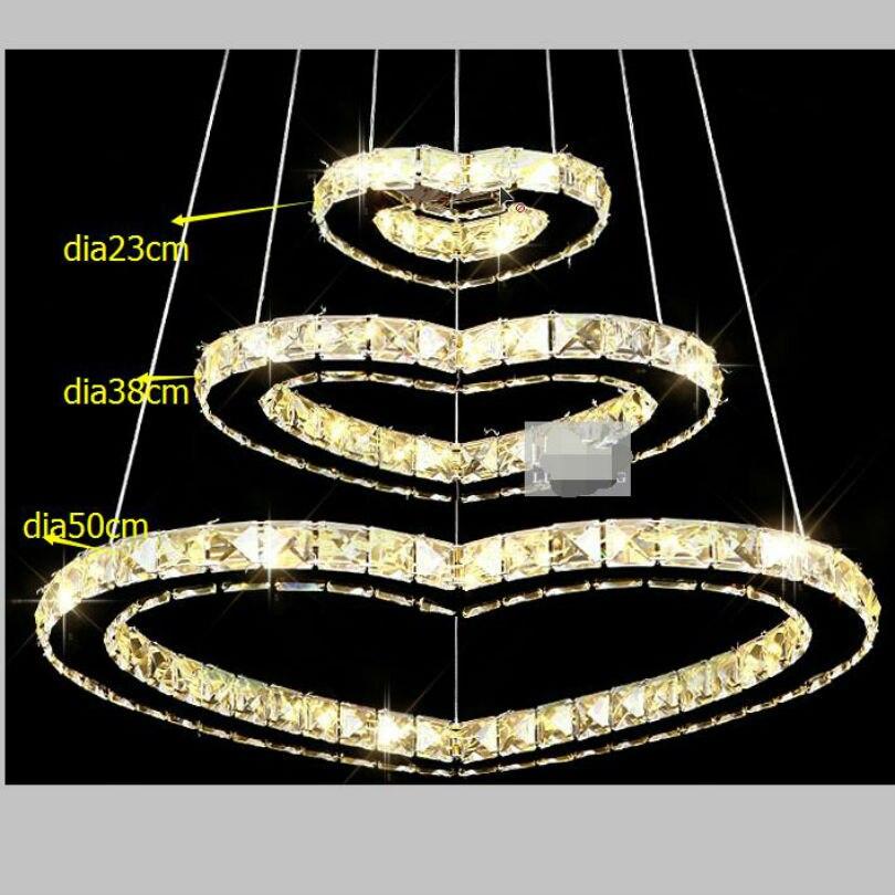 crystal led chandelier /  50*38*23cm / fashion led romantic chandelier/ living room/hotel minimalist lamp hearts design 3 rings