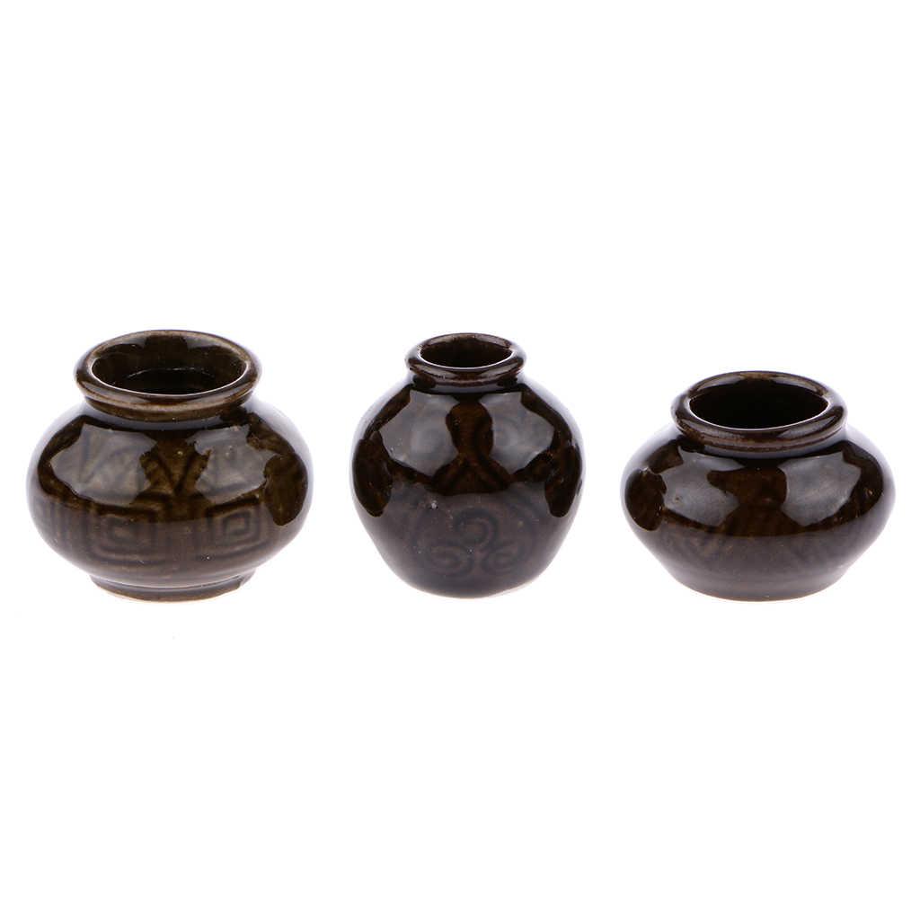1:12 Scale A Single Vase Dolls Miniature Ceramic Vase Set C