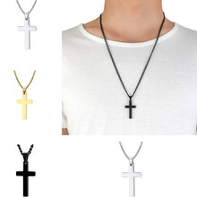 1PC Plated Cross Alloy Men Fashion Stainless Steel Chain Gift Necklace Jewelry High Quality Pendant Unisex Solid Color(China)