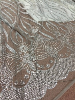 5 yards with glued glitter on sale SYJ-111676 embroidery mesh material for evening dress