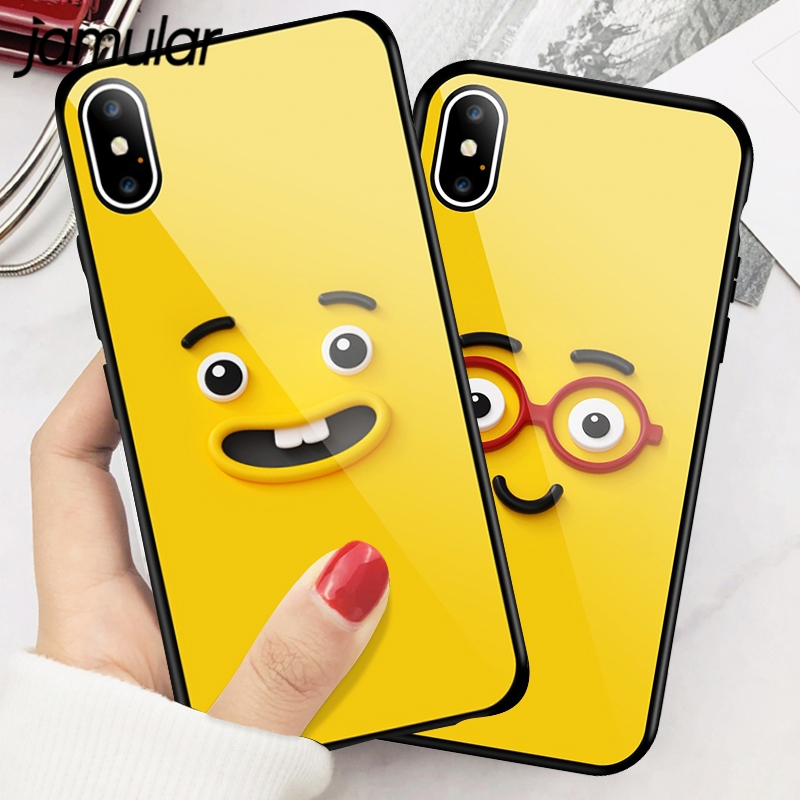 JAMULAR Funny Expression Phone Cases For iphone 7 8 Plus Tempered Glass Case for iphone 6 6S Plus X XS High Quality TPU Coque