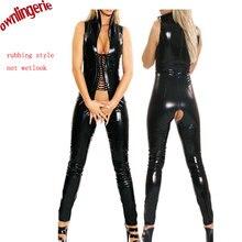 Mulheres Sexy Faux Leather Bodysuit Virilha Aberta Erótico Fetiche Latex Catsuit Bodycon Jumpsuit Bodysuit PVC