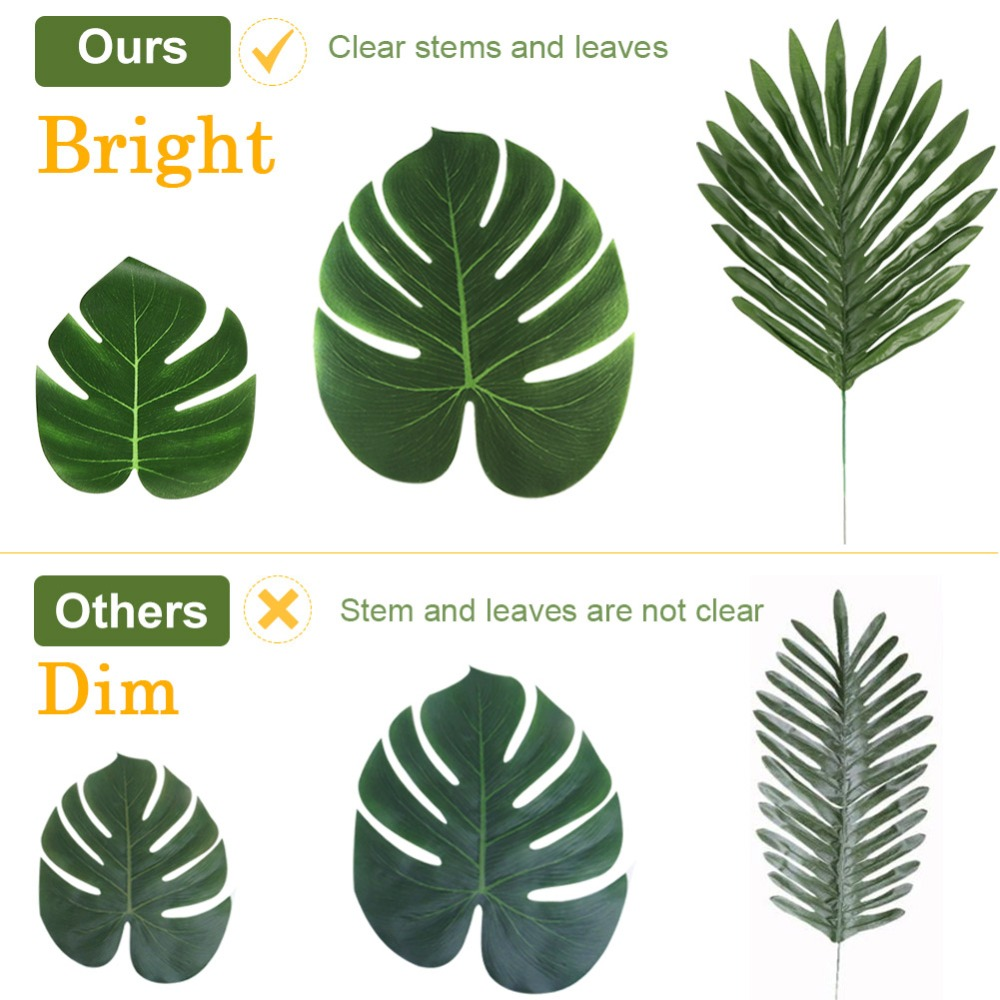 OurWarm 12Pcs Jungle Party Supplies Artificial Tropical Palm Leaves Turtle Leaf Hawaiian Luau Beach Theme Party Table Decoration in Party DIY Decorations from Home Garden