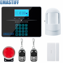 Voice Prompt Wireless door sensor Home Security system alarm LCD Display Wired Siren Kit SIM SMS GSM burglar Alarm for your home
