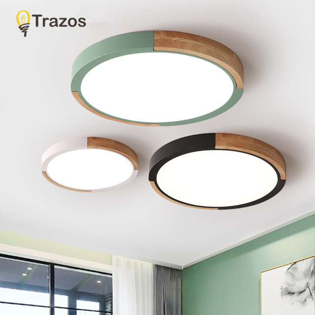 TRAZOS Colour LED Ceiling Lights 220v Nordic Style Round Ceiling Mounted Lamp For Bedroom Wooden Kitchen Lighting Fixture