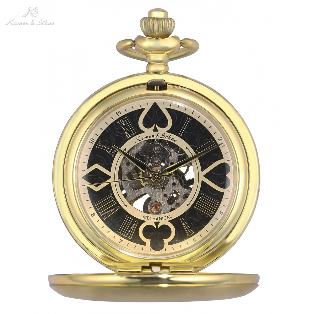 KS Skeleton Poker Design Golden Hunter Mechanical Pocket Watch Vintage Hand Winding Clock Fobs Watches Chain Jewelry /KSP081 new necklace 2017 popular drop fine jewelry angel wing charm golden snitch pocket watch men vintage