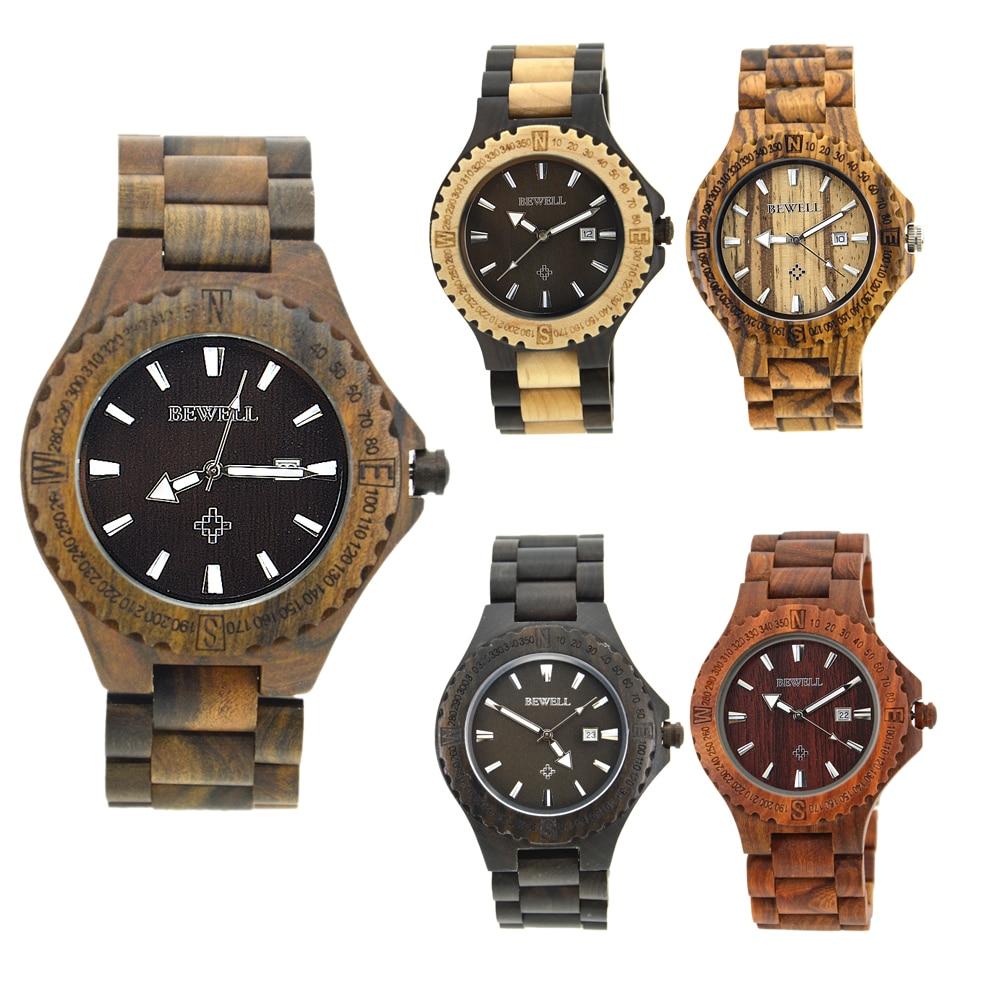 BEWELL heren horloges houten kist met houten band met kalender - Herenhorloges - Foto 6