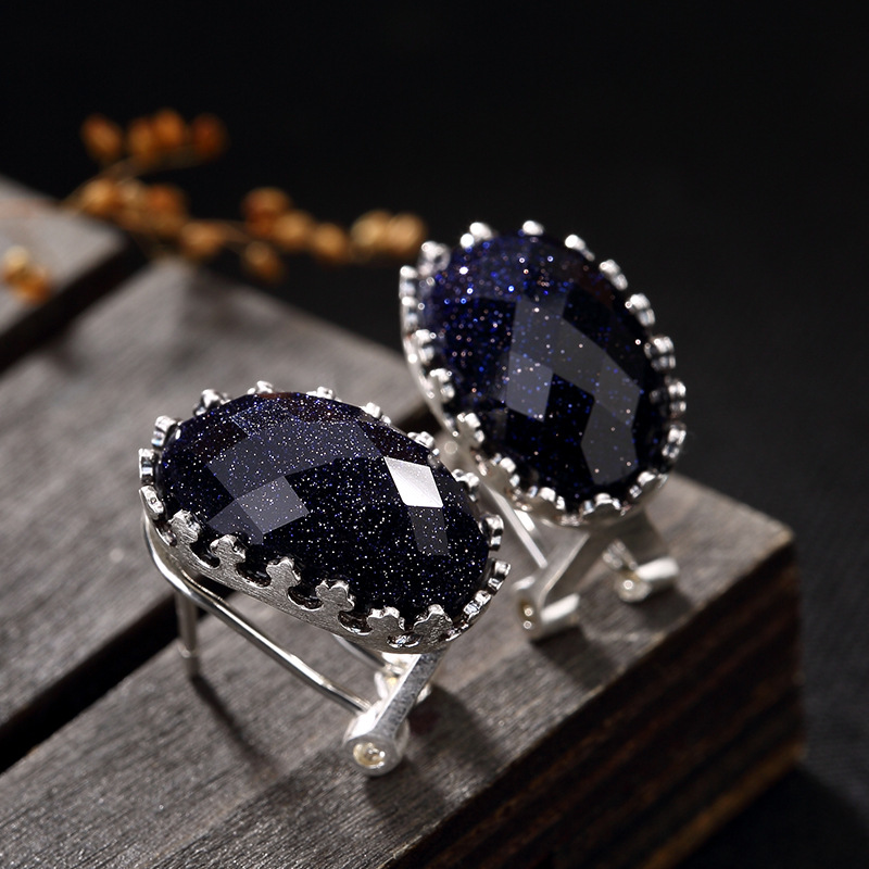 NOT FAKE Poland S925 Fine Stud Earrings Sapphire Earrings Women Antique Shop Art Handicraft Artisan Baltic Gemstone  Lazuli