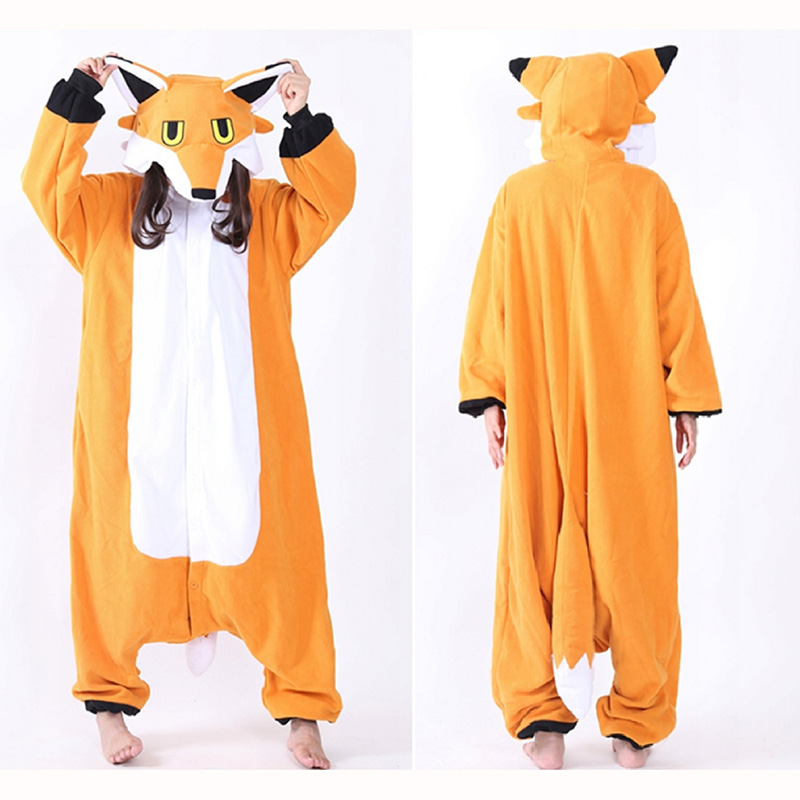 JINUO Orange Fox Soft Onesie Fleece Pyjamas Soft Cartoon Costume Onesies Pajamas Womens Pijamas Disfraz Animal set
