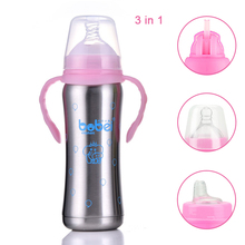 3 in 1 Baby Stainless Steel Bottle Wide Diameter with Handle Suction Insulation Cup Feeding For 0-3 Years Old