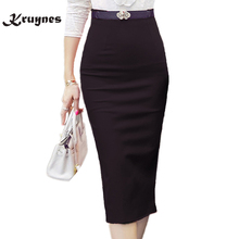 2018 Pencil Skirt Women Bodycon Fashion High waist elastic Office  Skirt Red Black Slit Women's Midi Skirts Jupe Femme size 5XL