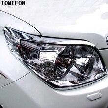 TOMEFON For Toyota Prado FJ150 2010 2011 2012 2013 ABS Chrome Headlight Head Lamp Hoods Cover Trim Car Styling 2pcs