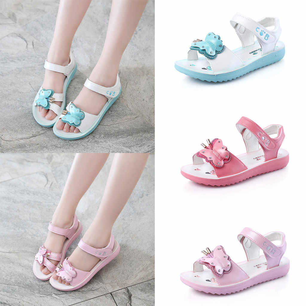2019 Summer Children Baby Kids Boys Girls Shoes Non-Slip Pearl Flower  Crystal Newborn Infantil Butterfly Sandals 19MAY24P20