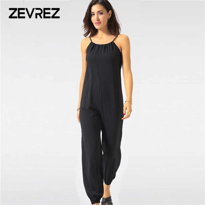cd1801a25bde Summer Jumpsuit for Women Sexy Casual Black Sling Backless Lantern Pants Female  Overalls Elegant Beach Rompers