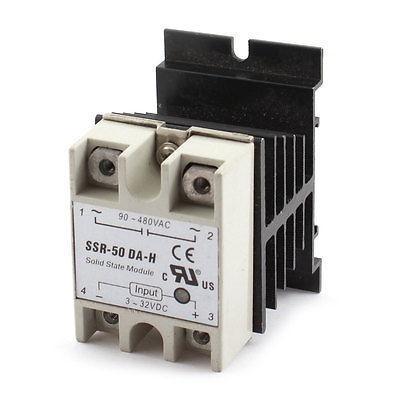 AC3-32V to AC90-580V 50A 4 Screw Terminal Solid State Relay w Heat Sink high quality ac ac 80 250v 24 380v 60a 4 screw terminal 1 phase solid state relay w heatsink
