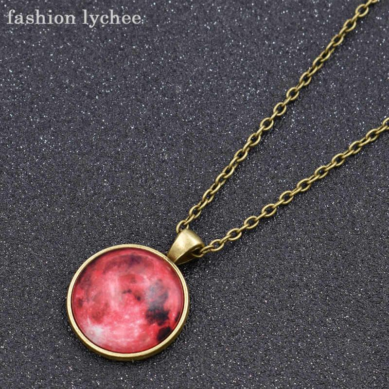 الأزياء يتشي الملونة الكوكب يتوهج في الظلام كابوشون قلادة قلادة جولة المعادن قطرة مجوهرات اكسسوارات للرجال النساء