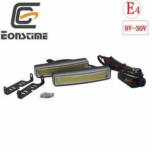 Eonstime 2pcs 15cm COB LED Vehicles Car Daytime Running Light DRL Installation Bracket White Light Lamp 12V/24V Off function E4(China)