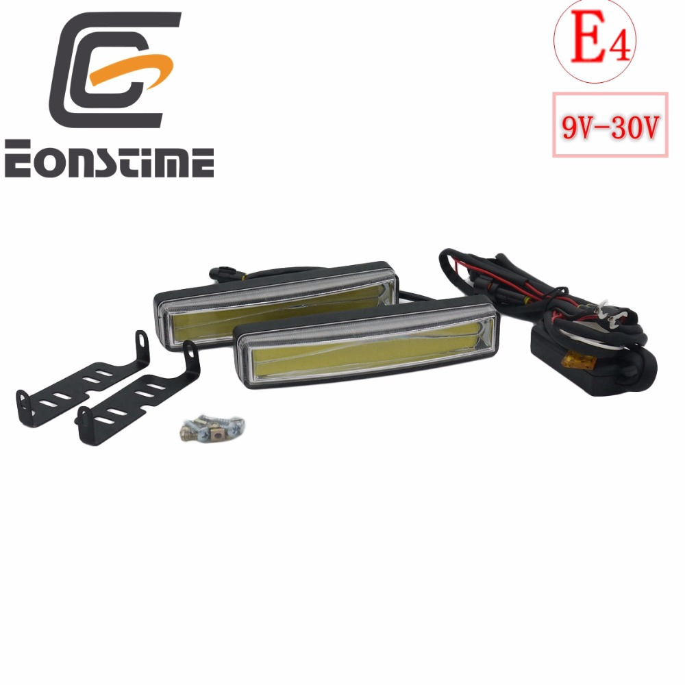 Eonstime 2pcs 15cm COB LED Vehicles Car Daytime Running Light DRL Installation Bracket White Light <font><b>Lamp</b></font> <font><b>12V</b></font>/24V Off function <font><b>E4</b></font> image