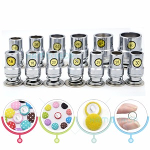 Image 4 - Lote de 100 unidades de botones de tela redonda recubierta de aluminio, con 1 Herramienta, forma de pan de Metal para setas, hechos a mano, Envío Gratis